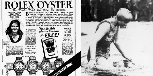 in 1927, Mercedes Gleitze swam the English Channel with a Rolex Oyster